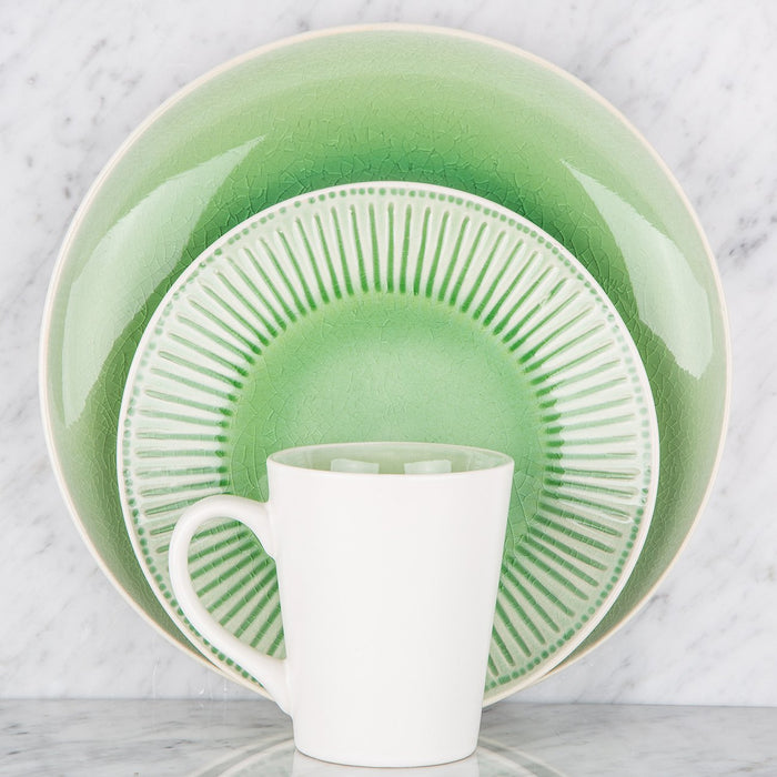 Green Gloss Glazed Crackle Dinner Plate