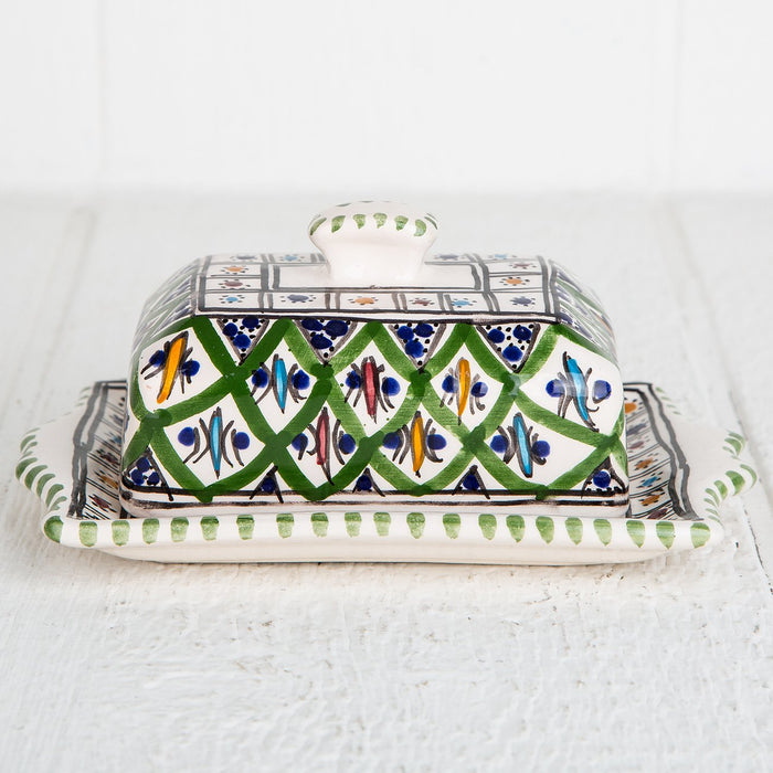 Green Hand Painted Butter Dish