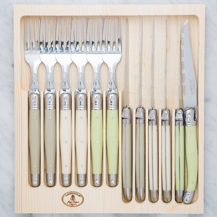 Green Laguiole Knife and Fork Set (12 Piece)