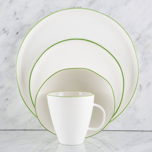Green Rimmed Ceramic Dinnerware