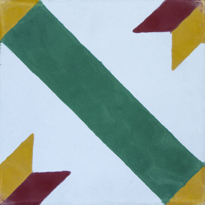 "Green, Yellow & Red Diagonale Carocim Tile (8"" x 8"") (pack of 12)"