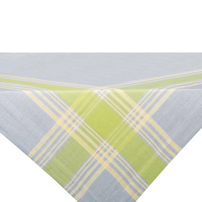 Grey and Green Toalha Linen Tablecloth
