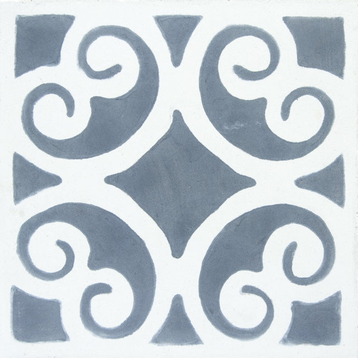 "Grey & White Siracusa Carocim Tile (8"" x 8"") (pack of 12)"