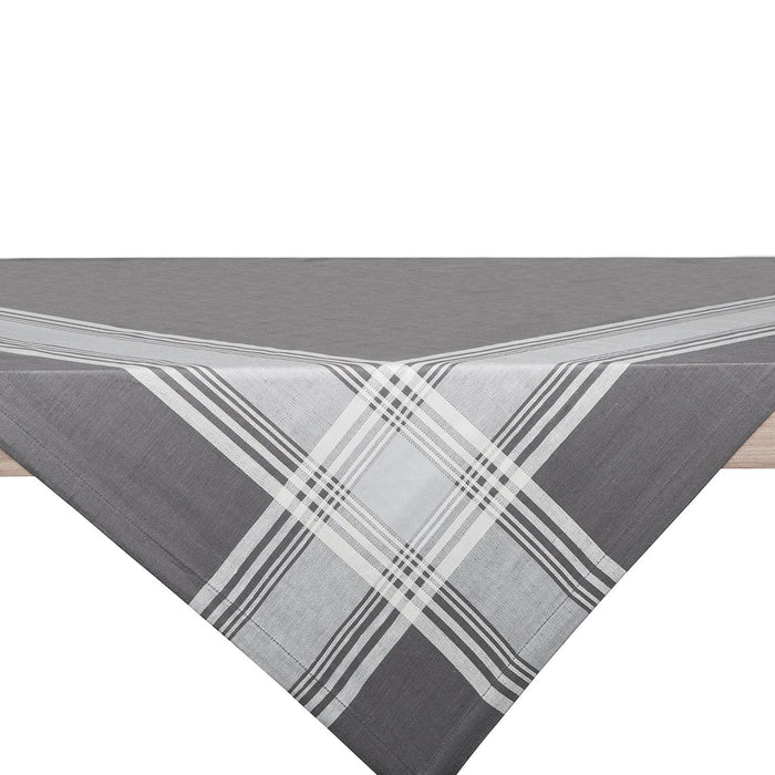 Grey and White Toalha Linen Tablecloth