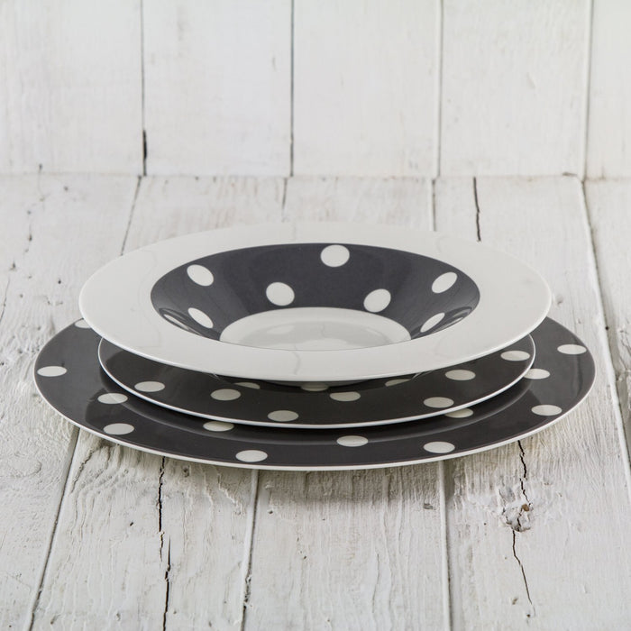 Grey Polka Dot Dinner Plate