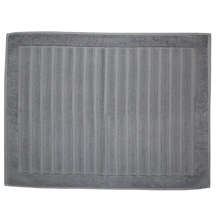 "Grey Striped Bath Mat (31x23"")"