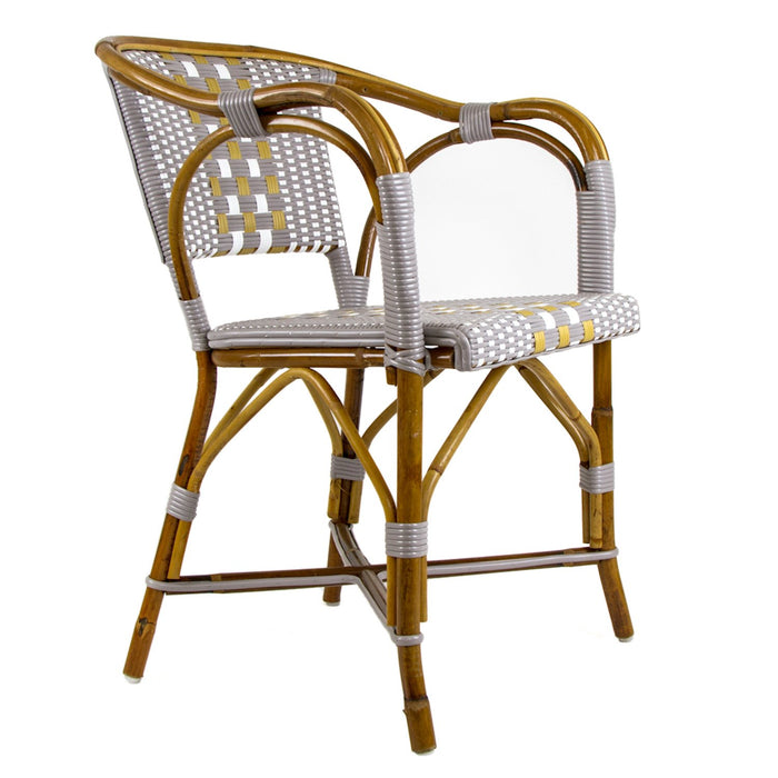 Grey, White & Beige Mediterranean Bistro Chair with Woven Arms (W)