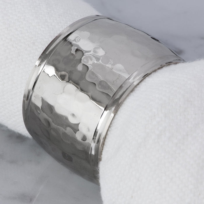 Hammered Metal Silver Napkin Ring