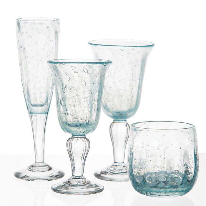 Hand Blown Light Blue Wine Glass