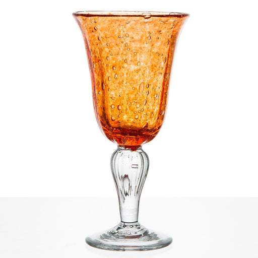 Hand Blown Orange Water Glass