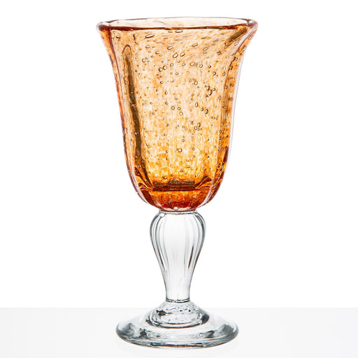 Hand Blown Orange Wine Glass