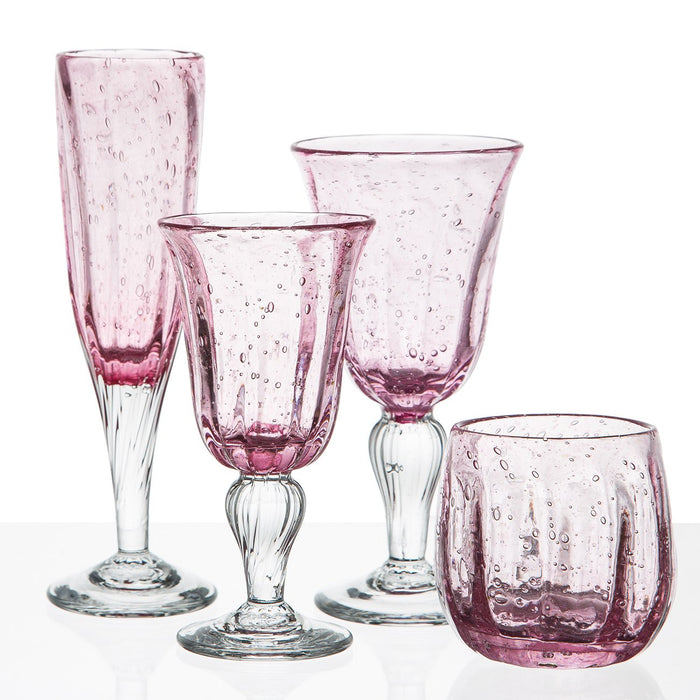 Hand Blown Pink Sangria Goblet