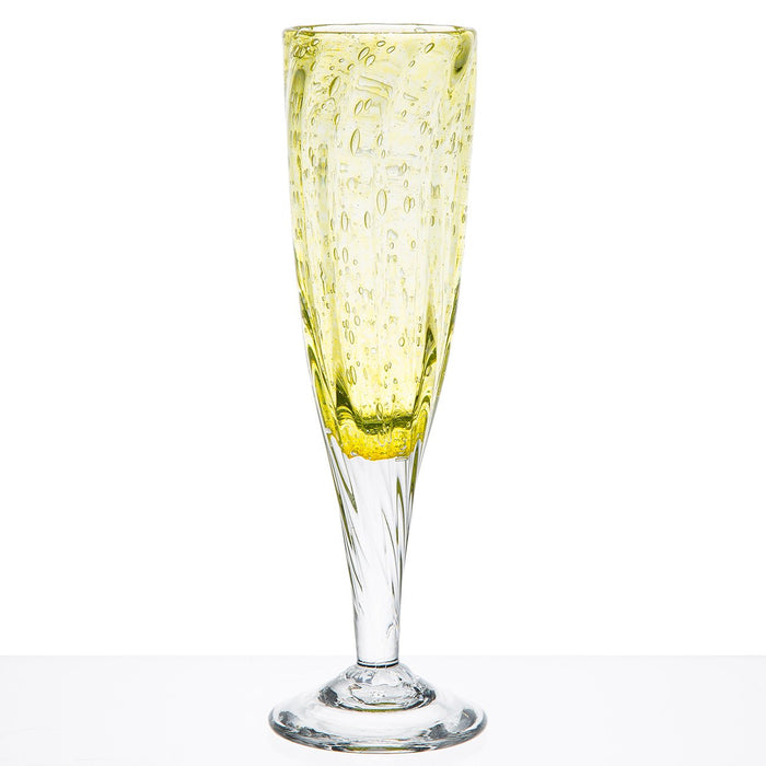 Hand Blown Yellow Champagne Flute