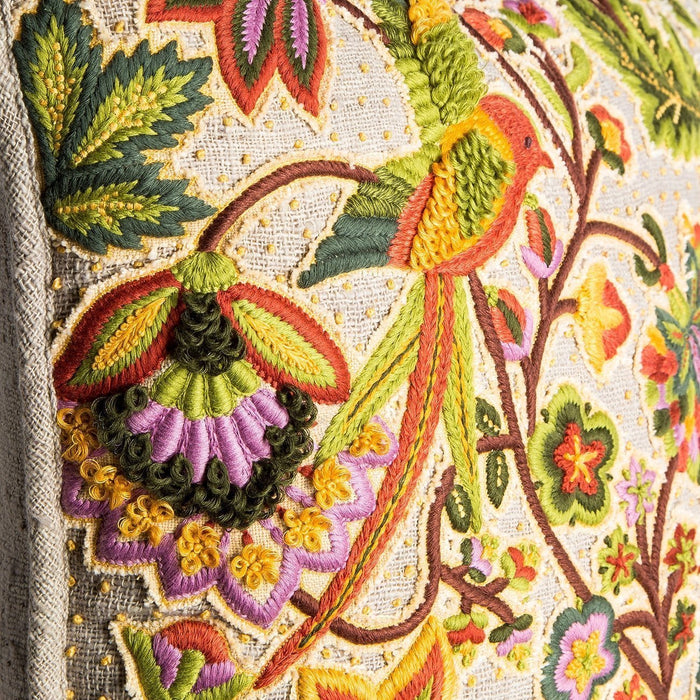 Hand Embroidered Marigold Pillow