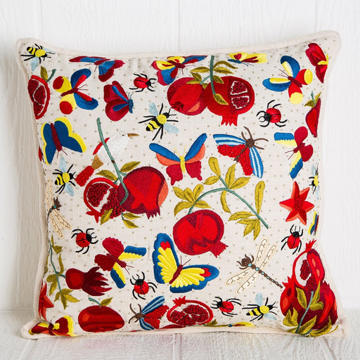 Hand Embroidered Pomegranate Pillow