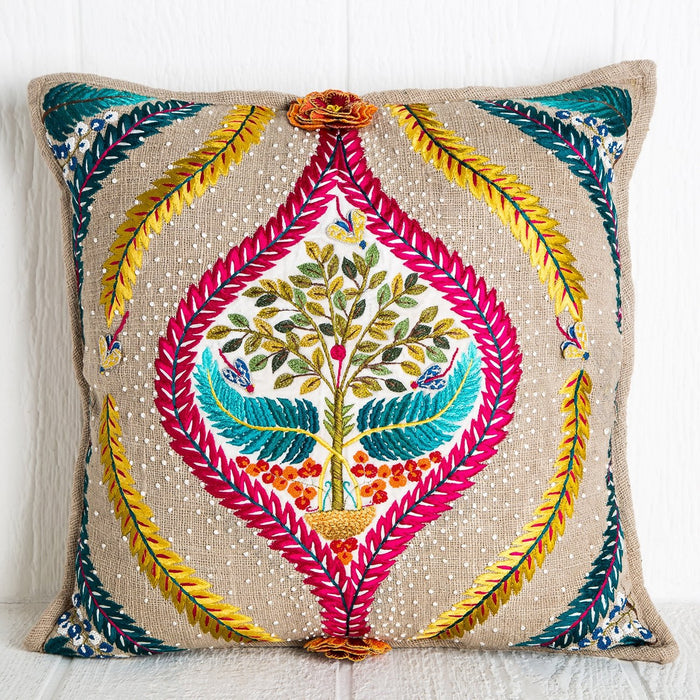 Hand Embroidered Tree Of Life Pillow