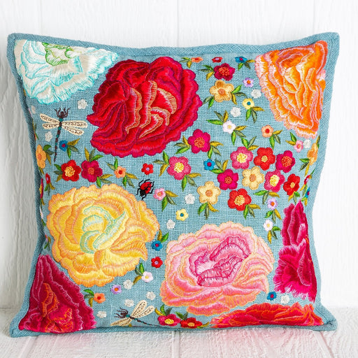 Hand Embroidered Wedding Flower Pillow