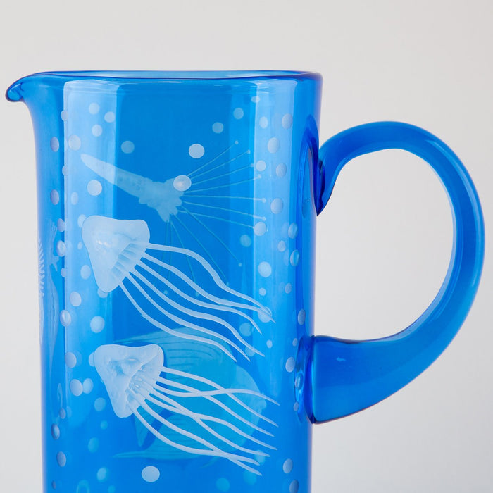Hand Etched Crystal Pitcher