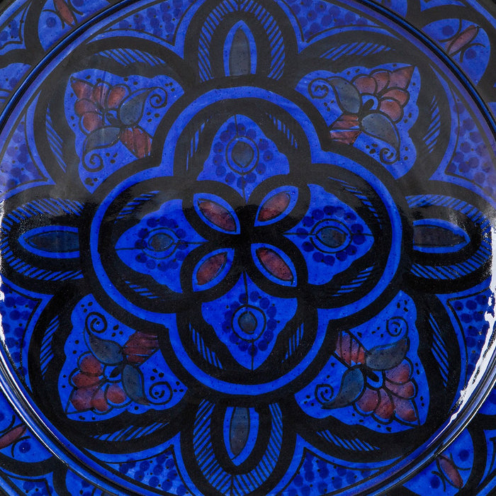 "Hand Painted Blue Moroccan Plate (14.5"")"