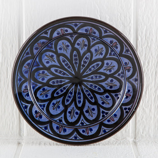 "Hand Painted Blue Moroccan Plate (9"")"