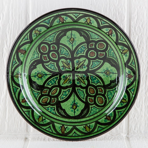 "Hand Painted Green Moroccan Plate (10.5"")"