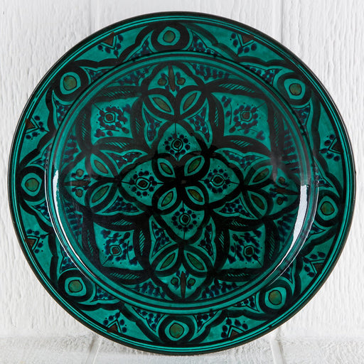 "Hand Painted Green Moroccan Plate (14.5"")"