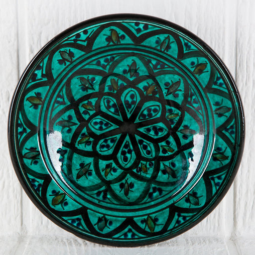 "Hand Painted Green Moroccan Plate (9"")"