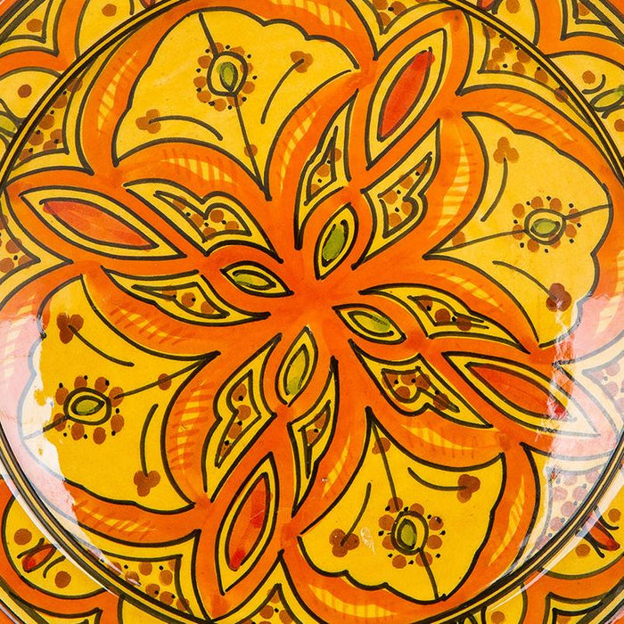 "Hand Painted Orange and Yellow Moroccan Plate (10.5"")"
