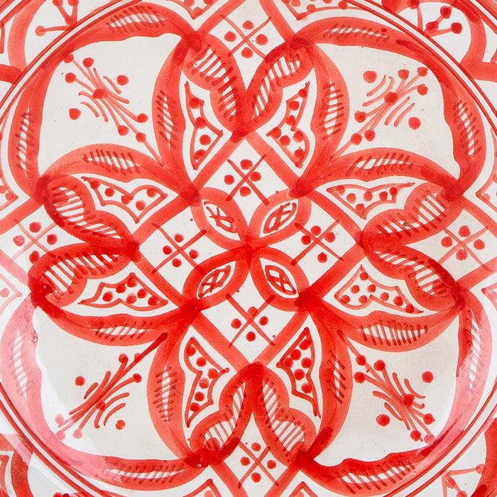 "Hand Painted Red and White Moroccan Plate (10.5"")"