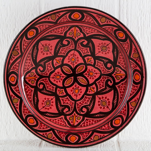 "Hand Painted Red Moroccan Plate (14.5"")"