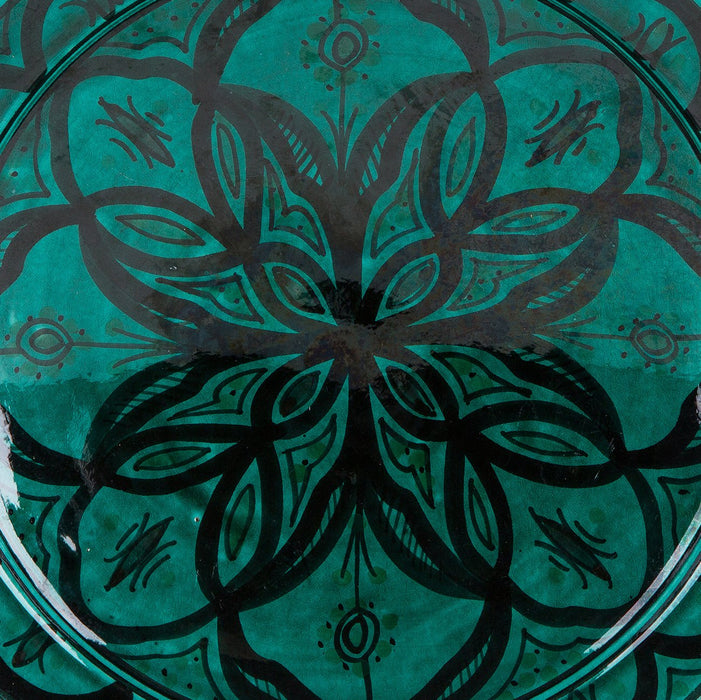 "Hand Painted Turquoise Moroccan Plate (10.5"")"