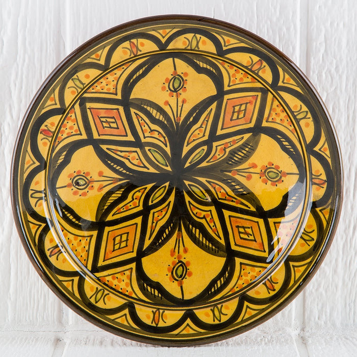 "Hand Painted Yellow Moroccan Plate (10.5"")"