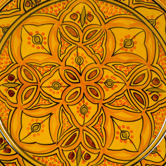 "Hand Painted Yellow Moroccan Plate (14.5"")"