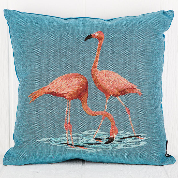 Hand Woven Flamingo Pillow (17x17)