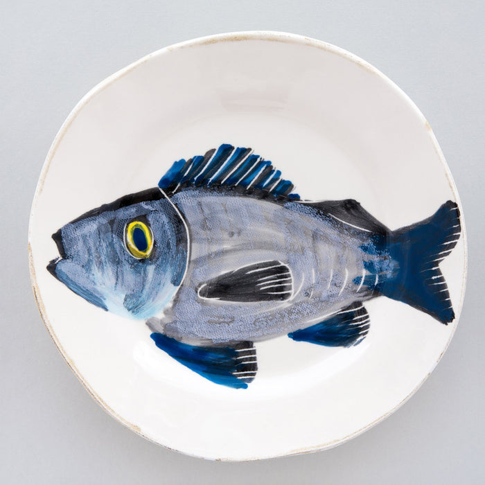 "Handcrafted Ceramic Branzino Fish Salad Plate (9"" ⌀)"