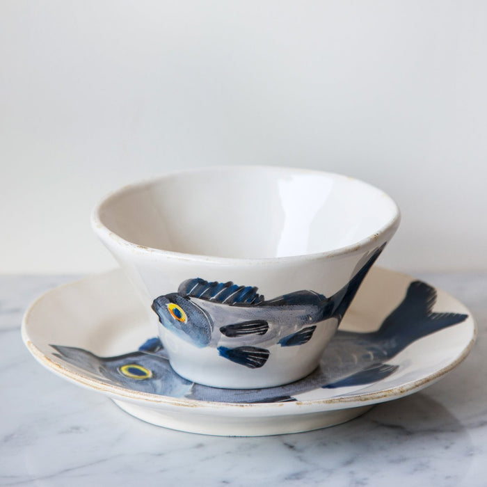 "Handcrafted Ceramic Branzino Fish Soup Bowl (9"" ⌀)"