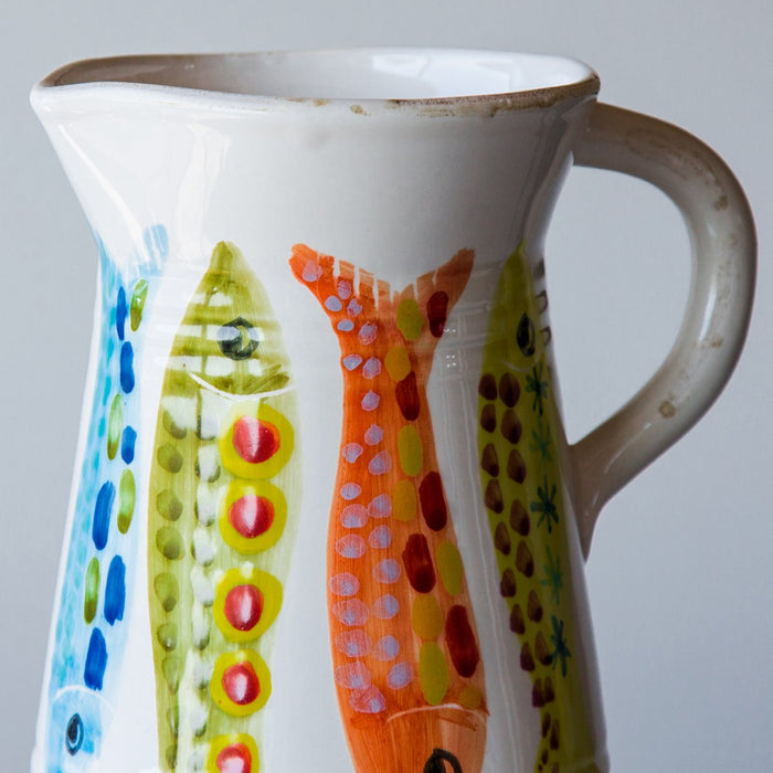 Handcrafted Ceramic Colorful Fish Pitcher (56 oz)
