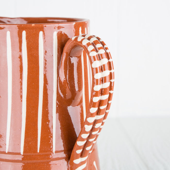 Handcrafted Orange Ceramic Pitcher