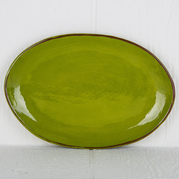 Handmade Green Oval Serving Dish