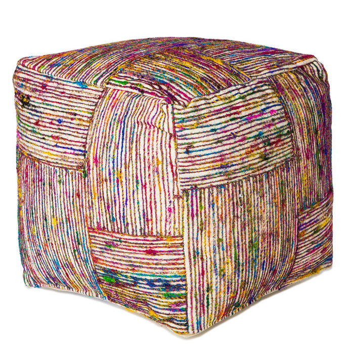 Handmade Multi-Color Silk Pouf