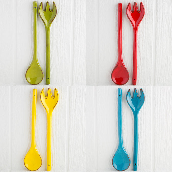 Handmade Red Salad Servers