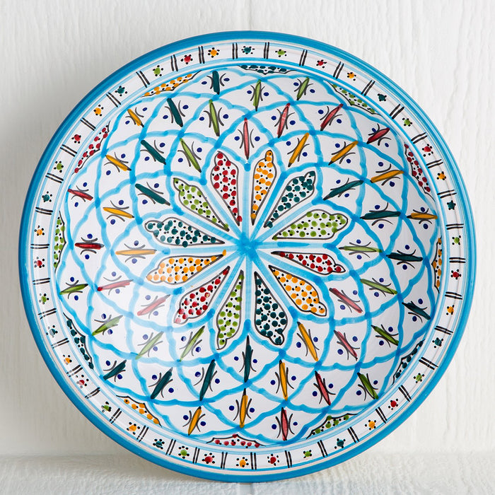 Handmade Tunisian Serving Bowl (Turquoise)