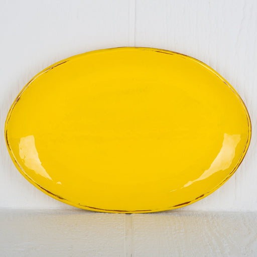Handmade Yellow Oval Serving Dish