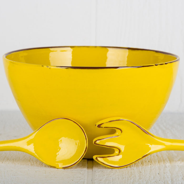 Handmade Yellow Salad Bowl