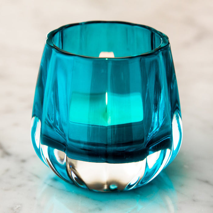 "Heavy Weighted Blue Glass Gaudron Tealight Holder (3.125"" h)"