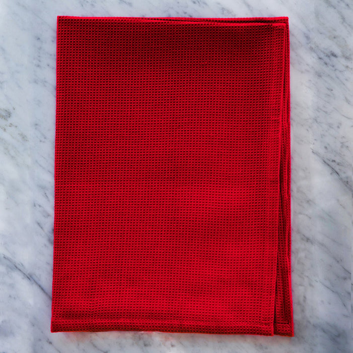 Honeycomb Red Pique Kitchen Towel