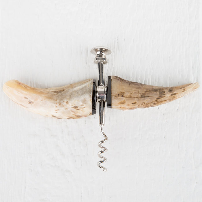 Horn Corkscrew and Bottle Opener Set