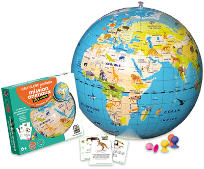 "Inflatable Globe- Stick N Quiz Animals (16.5"")"