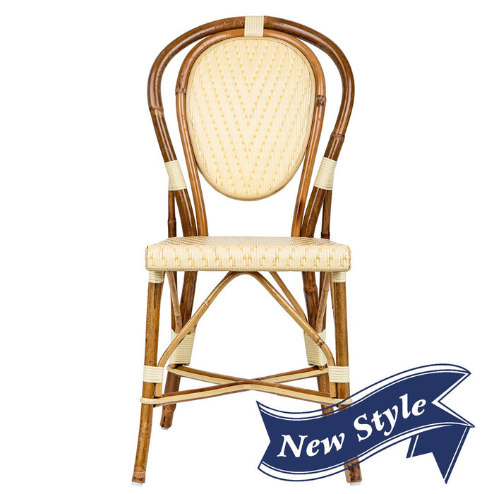 Ivory & Yellow Mediterranean Bistro Chair (L)