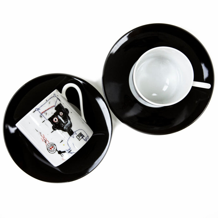 "Jean-Michel Basquiat ""Eyes & Eggs"" Espresso Cup & Saucers (set of 2)"